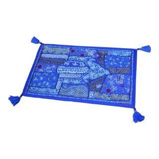 Indian Hand-Embroidered Royal Blue Silk Pillow Cover With Tassels For Sale
