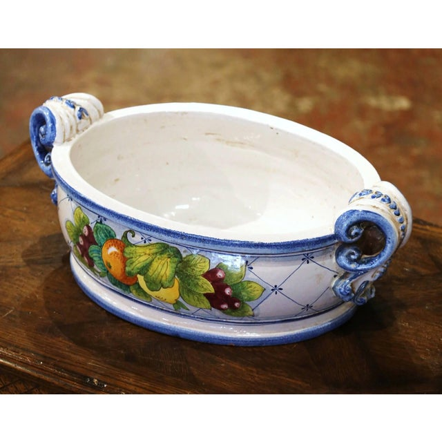 Vintage French Hand Painted Oval Dish With Handles For Sale - Image 11 of 11