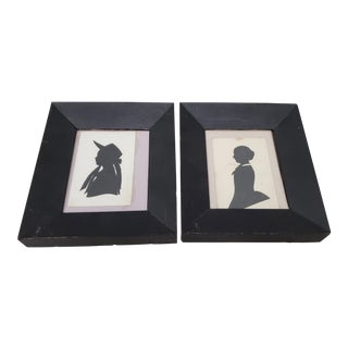 "Pair of Antique ""Mother and Daughter"" Silhouettes C.1900 For Sale"