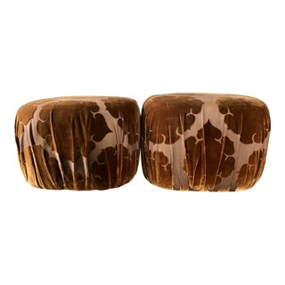 1970's Karl Springer Style Brown Velvet Pouf Ottomans- a Pair For Sale