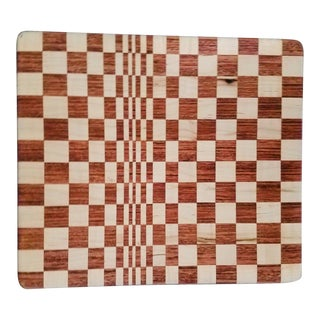 Victor Vasarely Hand Made Maple Cherry Op Art Cutting Board For Sale
