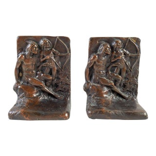 Bronze Native American Father & Son Bookends - a Pair For Sale