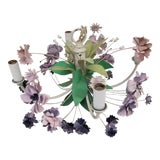 Image of Mid 20th Century Vintage 4 Arm Tole Chandelier With Lavender and Purple Flowers For Sale