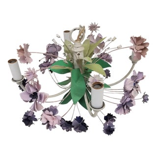 Mid 20th Century Vintage 4 Arm Tole Chandelier With Lavender and Purple Flowers For Sale