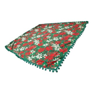 1960s Mid Century Poinsettia Tablecloth With Pom Pom Fringe For Sale