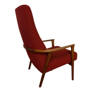 Mid Century High Back Teak Lounge Chair - Newly Reupholstered For Sale