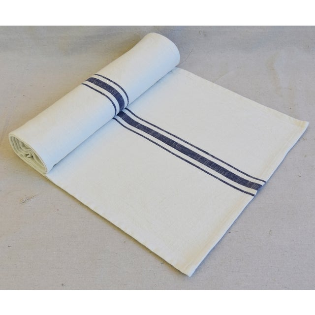 "White French Country Farmhouse White & Blue Striped Table Runner 110"" Long For Sale - Image 8 of 8"