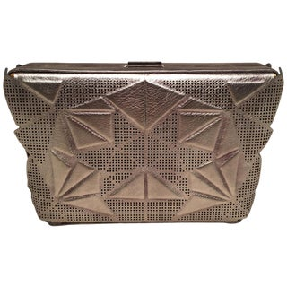 Tonya Hawkes Silver Metallic Embossed and Laser Cut Leather Convertible Clutch For Sale