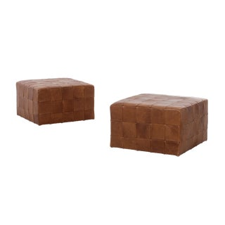 Danish Leather Patchwork Cube Ottomans For Sale