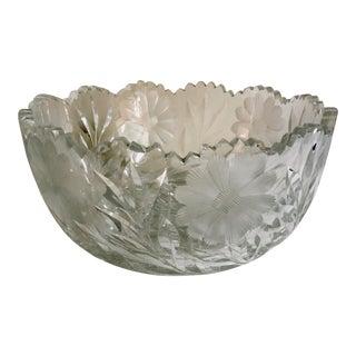 Vintage Large Cut Crystal Bowl For Sale