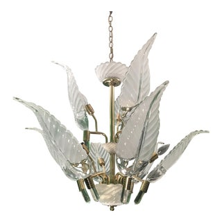 Murano Glass Palm Leaf Brass Chandelier