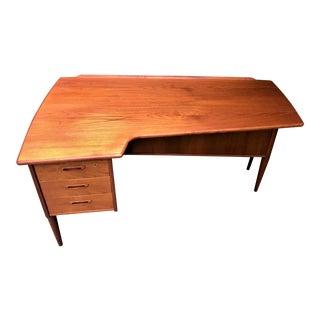 Peter Lovig Danish Mid Century Boomerang Teak Desk With Locking Bar For Sale