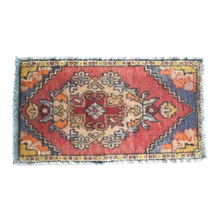 Front of Kitchen Sink Rug Hand Made Bath Mat Faded Mini Rug 1′8″ × 2′11″ For Sale