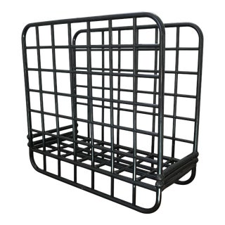 1980s Memphis Style Black Plastic Magazine Rack For Sale