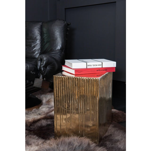 Hand Casted Polished Bronze Box Stool For Sale - Image 9 of 10