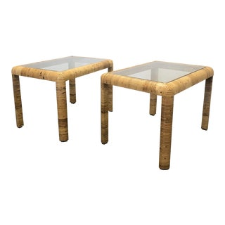 Rattan Wrapped Modernist Palm Beach End Tables - a Pair For Sale