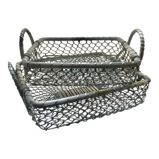 Vintage French Woven Silver Nesting Basket Trays - A Pair