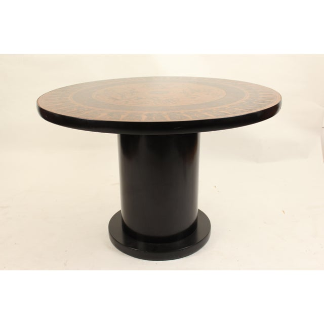 Egyptian Revival 20th Century Egyptian Copperstyle Engraved Top Center Table For Sale - Image 3 of 11
