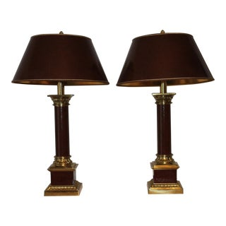 1990s Traditional Stiffel Brass and Leather Column Lamps - a Pair For Sale