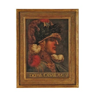 Early 19th Century Grand Tour Italian Portrait Painting of Caesar on Panel For Sale