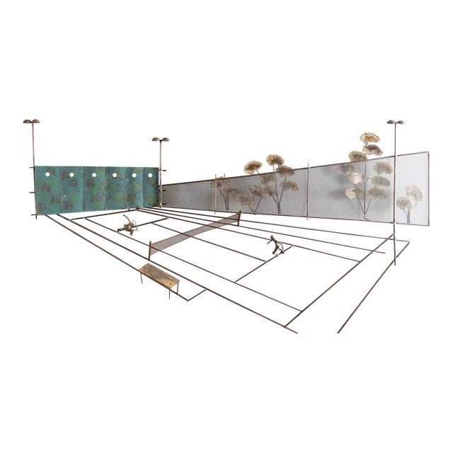 Vintage C Jere Tennis Match Metal Wall Sculpture - Image 1 of 5
