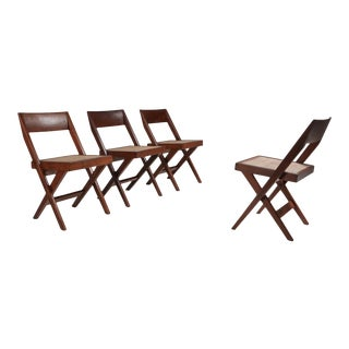 Library Chair by Pierre Jeanneret, Set of Four - 1950's For Sale