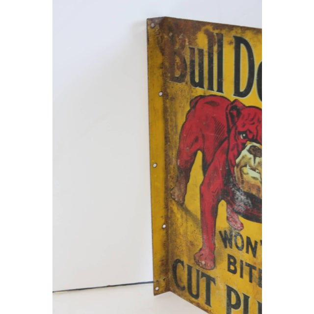 "Early 20th Century Early 20th C. Vintage ""Bull Dog Cut Plug"" Tobacco Double-Sided Tin Sign For Sale - Image 5 of 5"