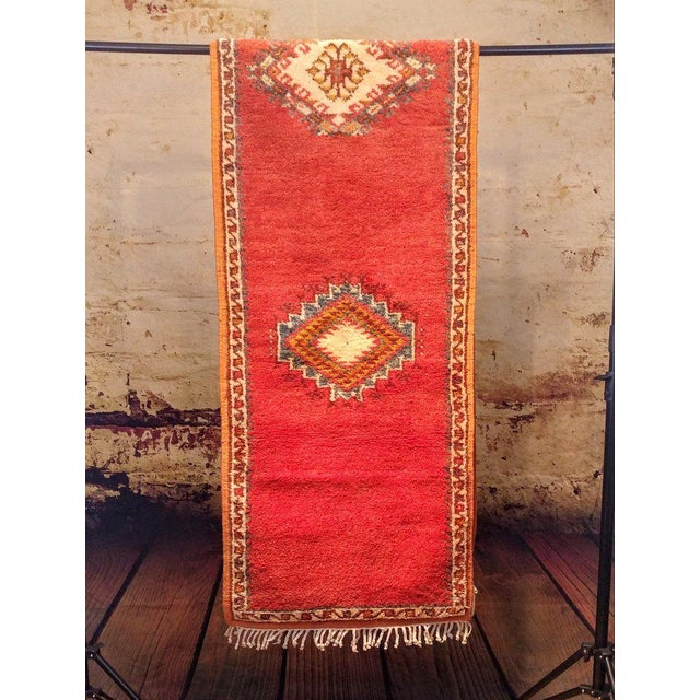 Coral and Turquoise Hallway Runner Pile Rug - Handmade Moroccan Taznacht - 2′3″ × 9′7″ - Image 2 of 7