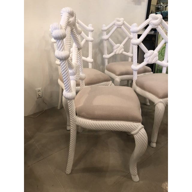 1970s Vintage Nautical White Lacquered Wood Rope Side Dining Chairs -Set of 4 For Sale - Image 5 of 10