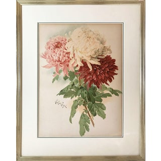 Antique Paul De Longpre Floral Chromolithograph of Chrysanthemums For Sale