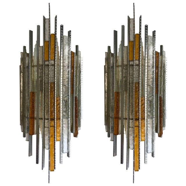 Pair of Sconces Hammered Glass Iron by Biancardi and Jordan Arte, Italy, 1970s For Sale - Image 12 of 12
