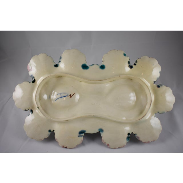 Longchamp French Barbotine Majolica Handled Oyster Server For Sale - Image 9 of 11