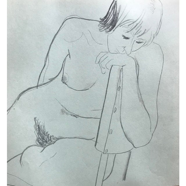 Figurative 1970s James Bone Pensive Female Nude in a Chair Drawing For Sale - Image 3 of 3