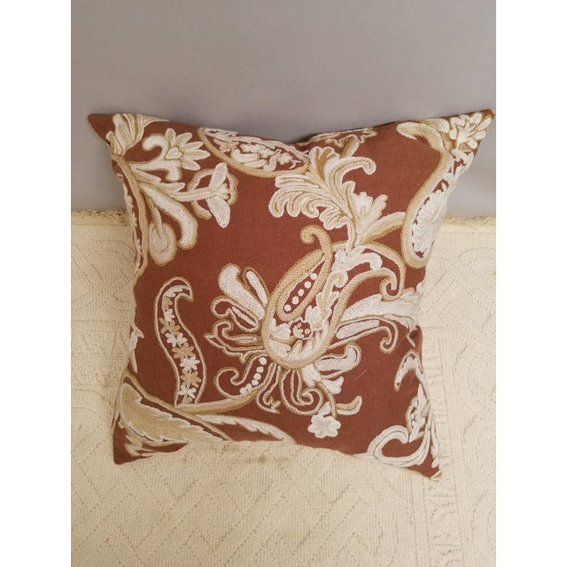 Custom Made Clarence House Cocoa Brown and Ivory Crewel Embroidered Linen Pillow Down Filled For Sale - Image 4 of 4