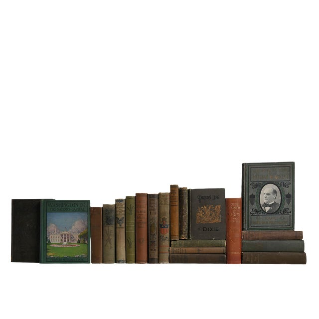 Weathered American History Books - Set of 20 For Sale