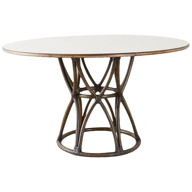 McGuire Organic Modern Round Game or Dining Table For Sale