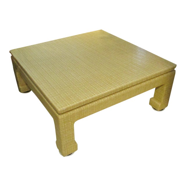 Mid-Century Karl Springer Style Lacquered Grasscloth Coffee / Cocktail Table For Sale