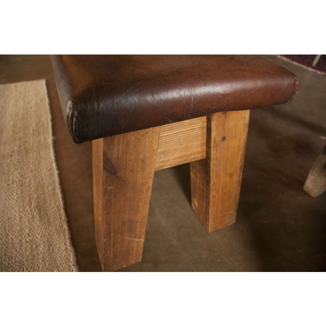 Dark Brown Large Vintage Leather Gym Mat Seating - Image 5 of 6