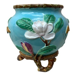 19th Century George Jones English Majolica Magnolias Jardinière For Sale