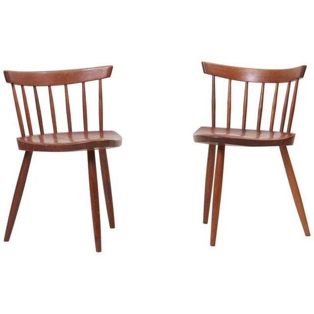 Pair of George Nakashima Studio Mira Nakashima Mira Chair in Walnut For Sale - Image 10 of 10