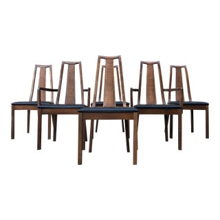 1960s Midcentury Modern Walnut & Cane Dining Chairs - Set of 6 For Sale