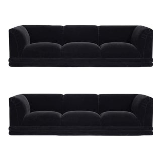 Jay Spectre Black Mohair Upholstered Sofas on Chrome Bases For Sale