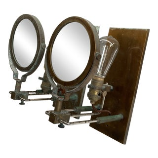 1980s Industrial Magnifying Glass Metal Wall Sconces - a Pair For Sale
