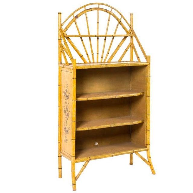Boho Chic 19th Century English Bamboo Bookshelf With Lovely Painted Finish For Sale - Image 3 of 4