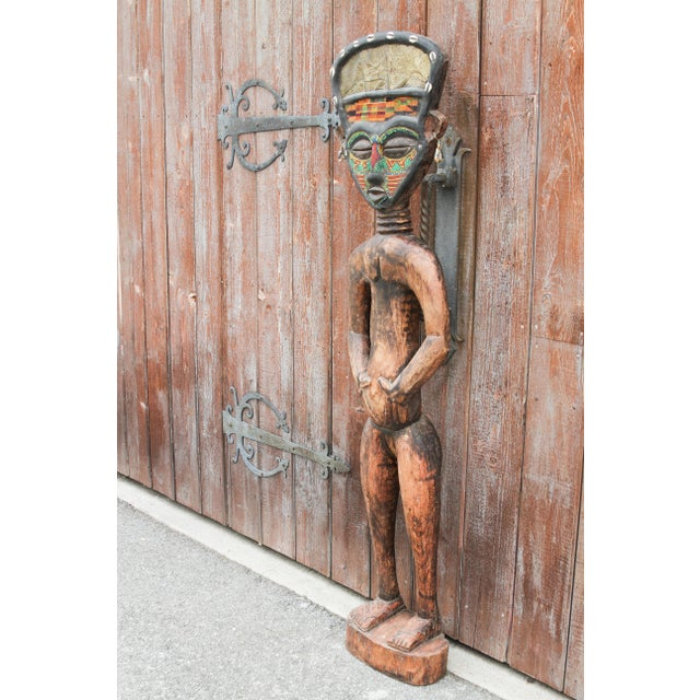 Metal Bamum African Large Tribal Statue For Sale - Image 7 of 11