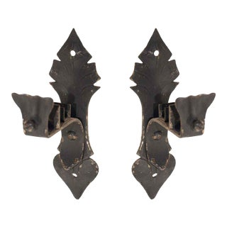 Pair of Colonial Black Cast Iron Curtain Brackets For Sale