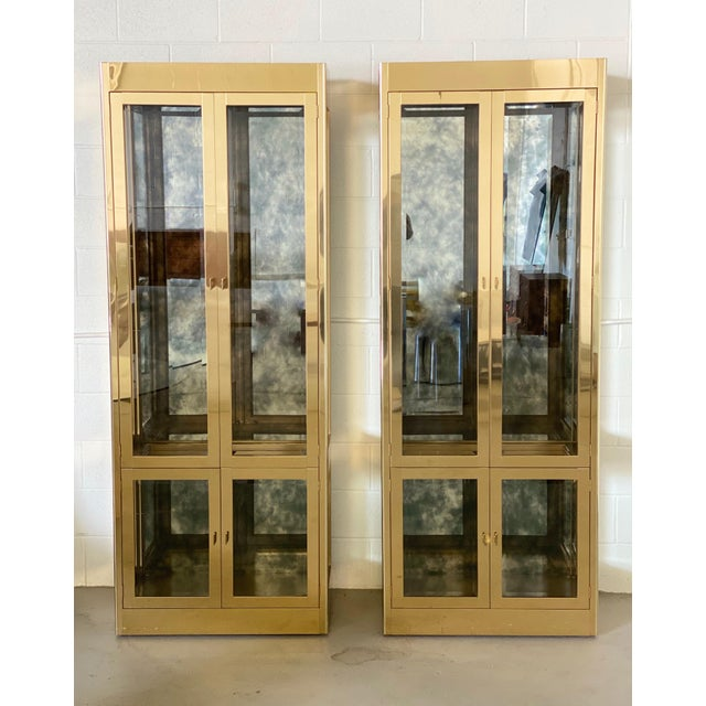 1970s Art Deco Mastercraft Brass and Glass Display Cabinets-a Pair For Sale - Image 11 of 11
