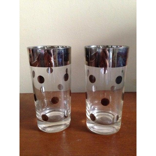 Dorothy Thorpe Silver Rim Polka Dot Glass - A Pair - Image 2 of 4