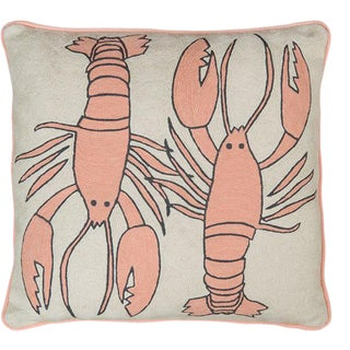Luke Edward Hall for the Rug Company Lobster Natural Cushion For Sale