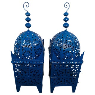 1990s Vintage Handmade Blue Painted Metal Floor Lanterns- Pair For Sale